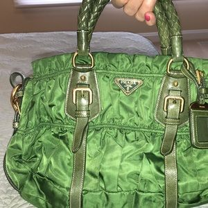 Green Prada bag